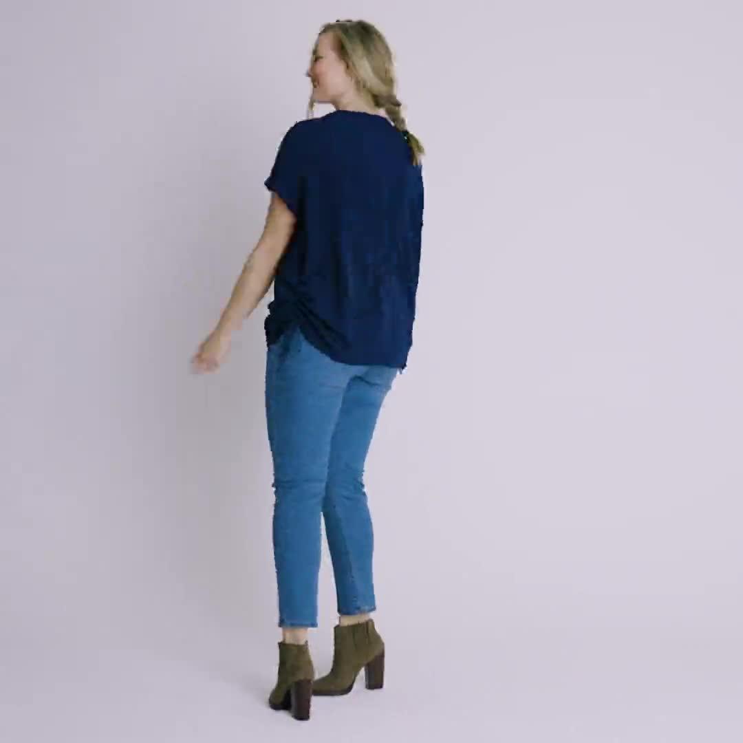 Roz & Ali Short Sleeve Side Tie Popover Blouse  - Plus - Video