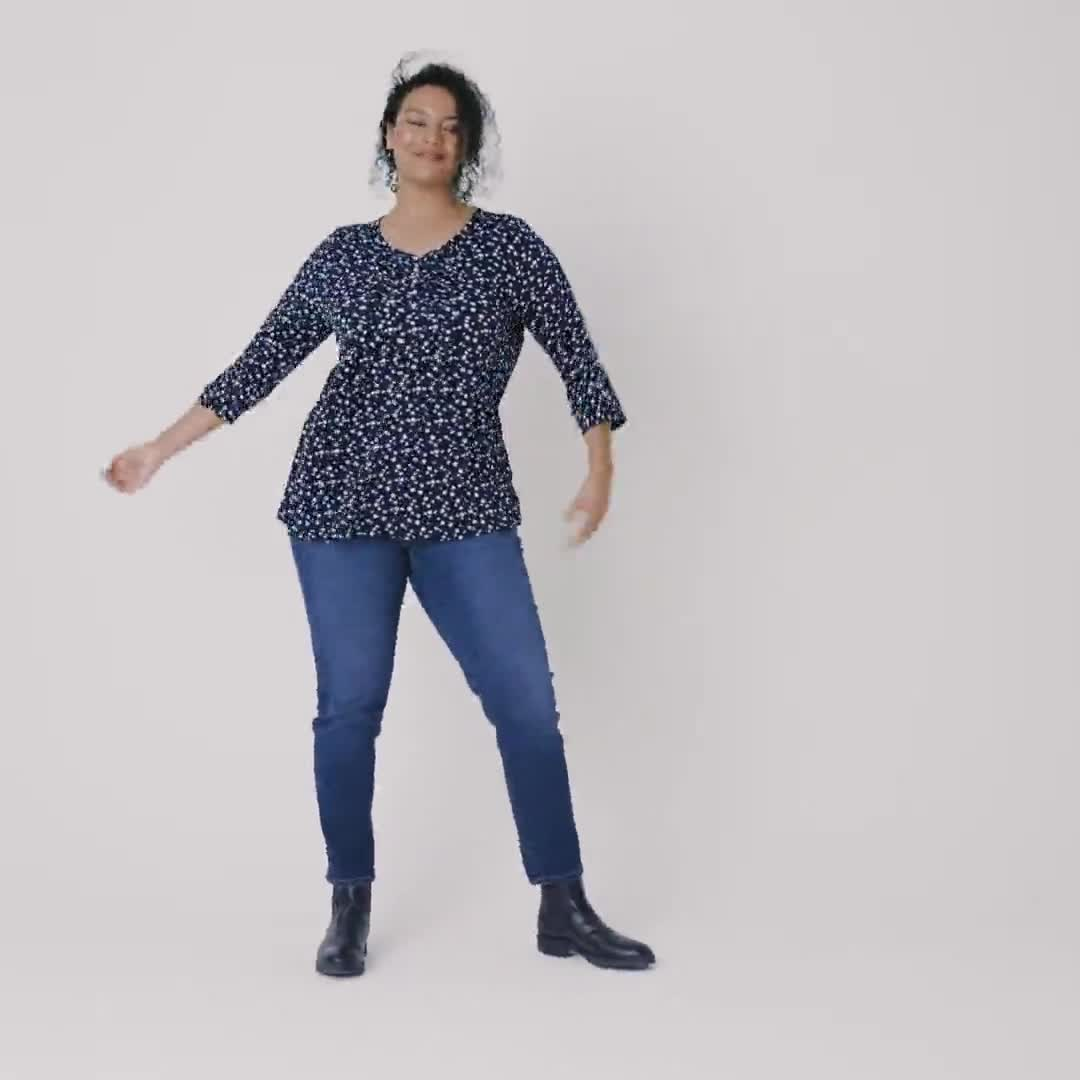 Roz & Ali Navy Dot Diamond Pintuck Popover - Plus - Video