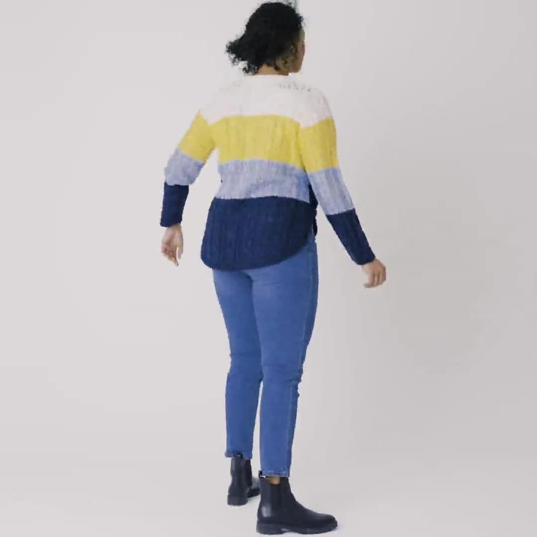 Westport Colorblock Curved Hem Sweater - Plus - Video