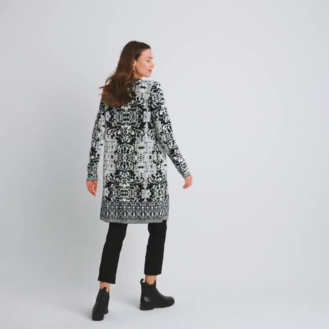 Roz & Ali Scroll Coatigan Sweater - Video