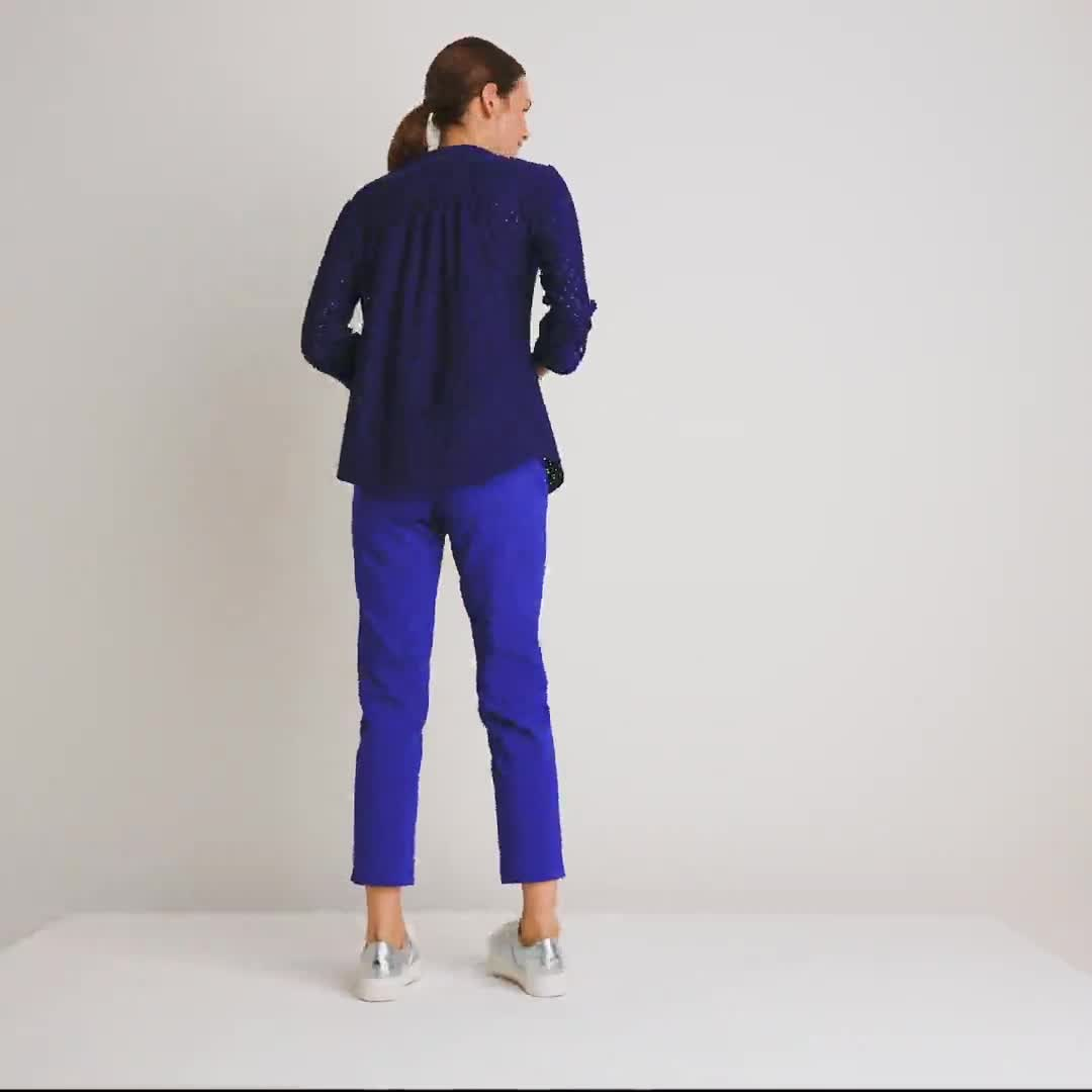 Roz & Ali Eyelet Knit Pintuck Popover - Video