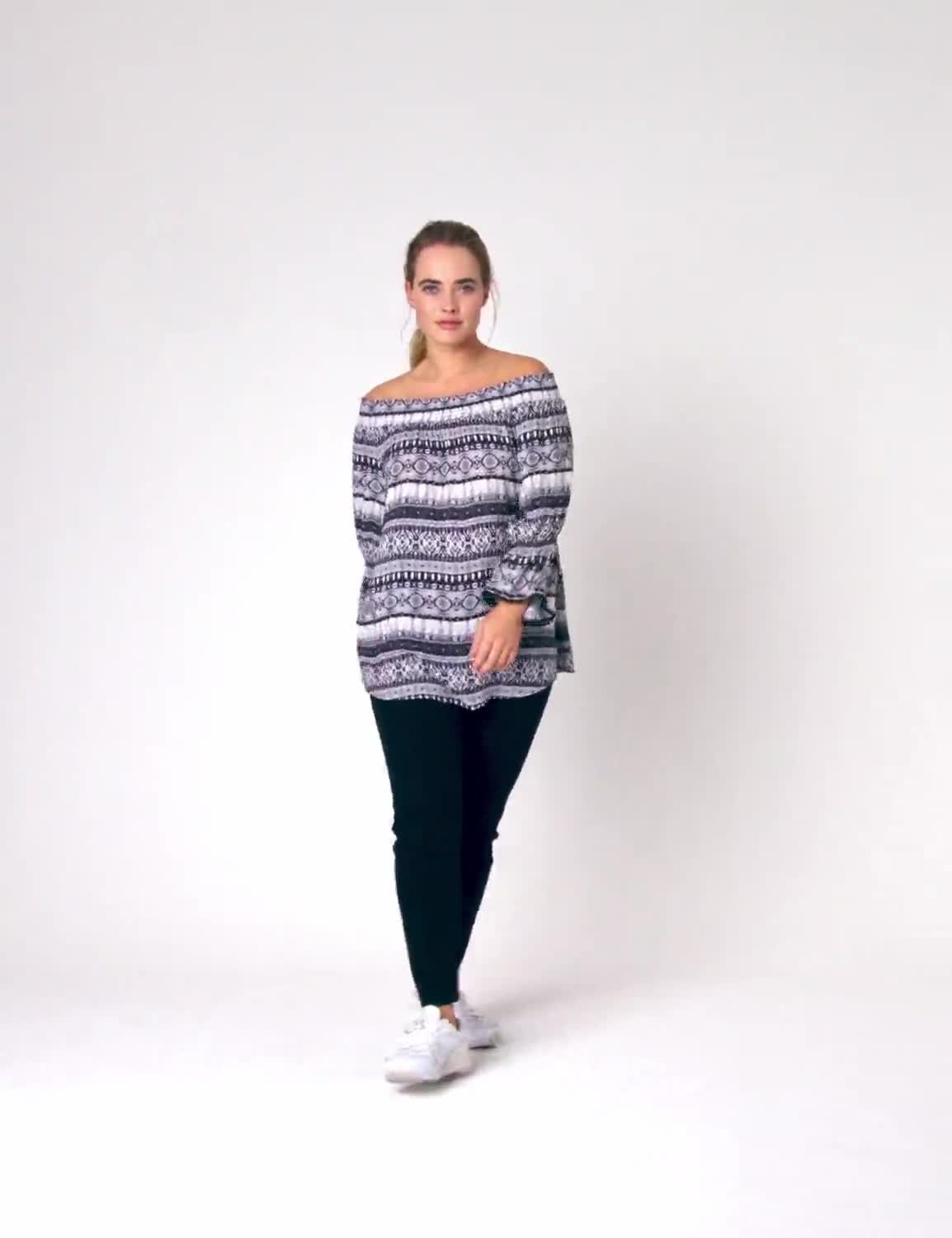 "Westport Denim Friendly ""On And Off The Shoulder Top"" - Plus - Video"