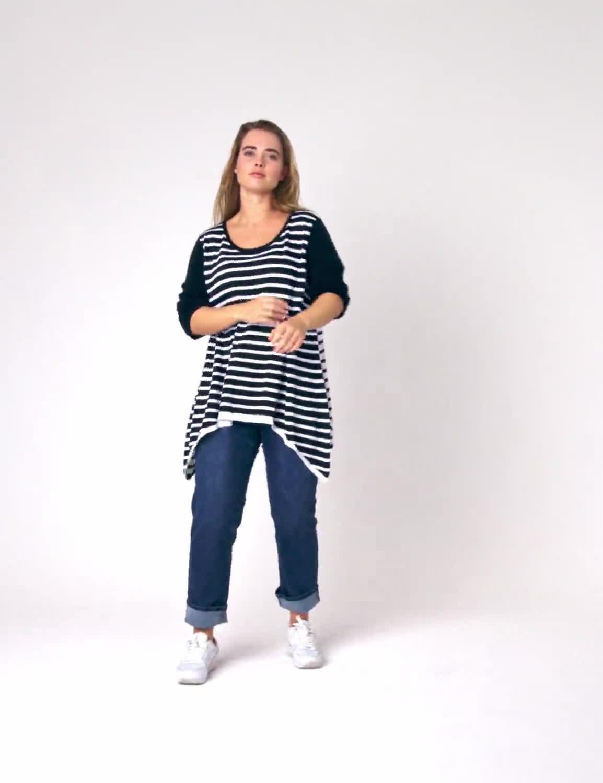 Roz & Ali Contrast Stripe Sweater - Plus - Video