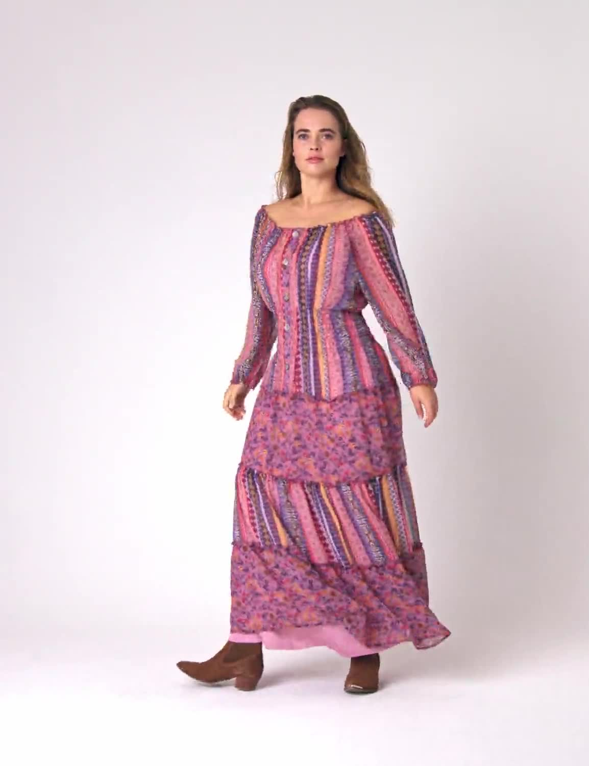 Multi Stripe Maxi Peasant Dress  - Plus - Video