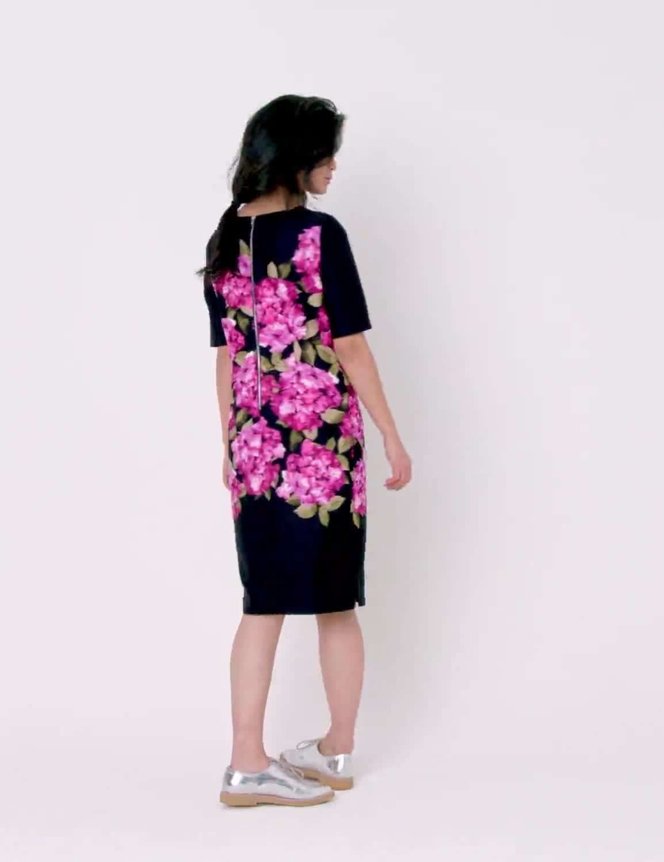 Scuba Floral Sheath Midi Dress - Video