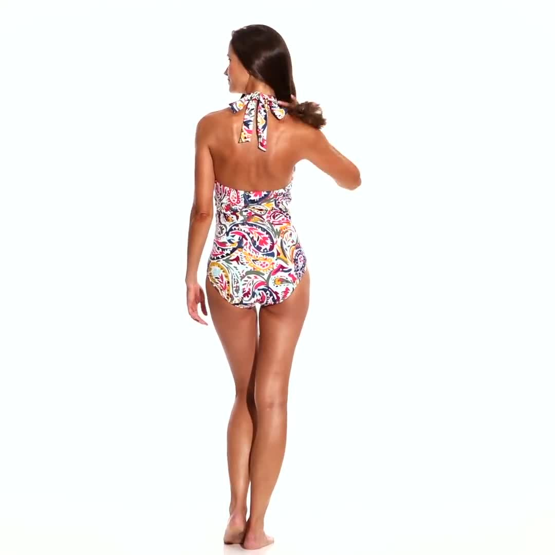 Anne Cole Ring High Neck One Piece - Video