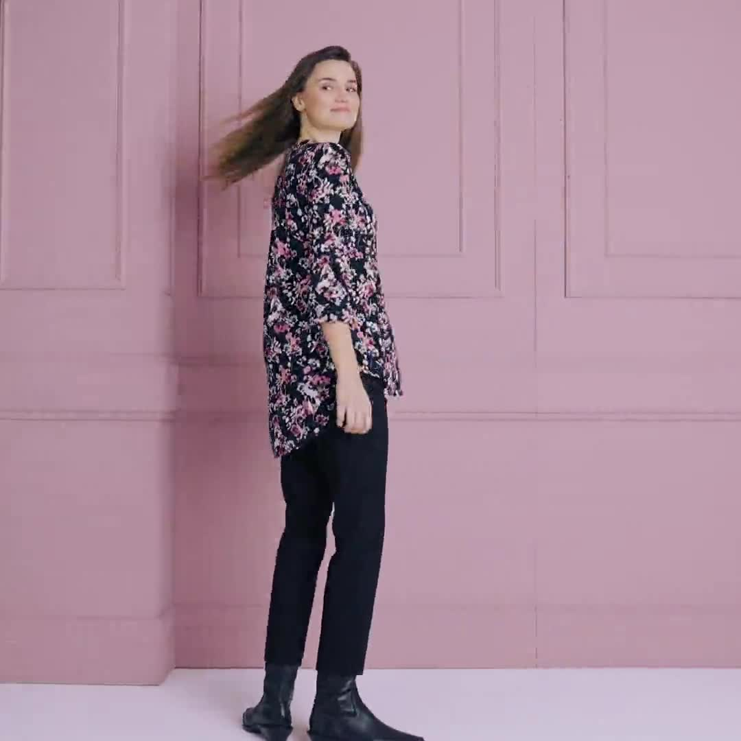 Roz & Ali Floral Jacquard Popover Tunic - Video
