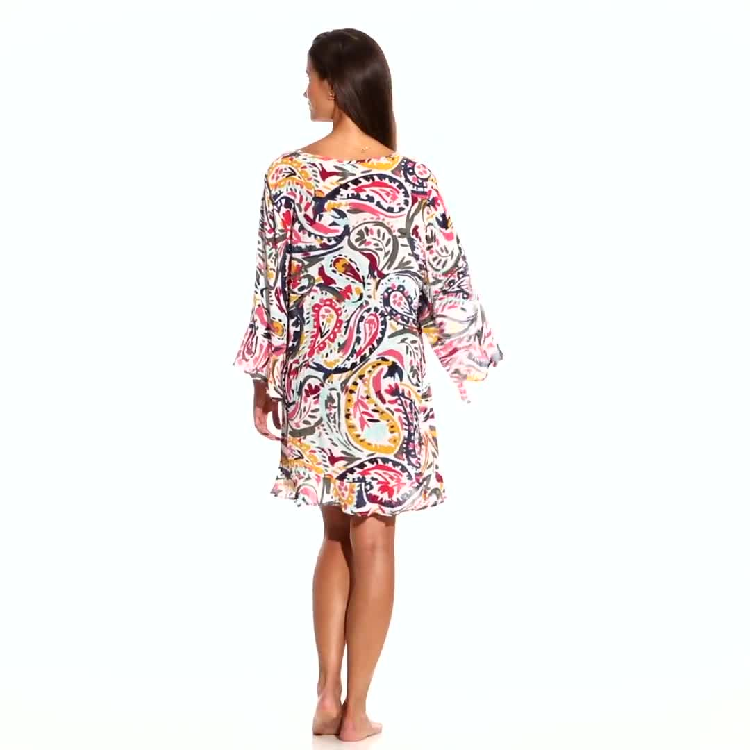 Anne Cole Flounce V Neck Tunic Cover-Up - Video