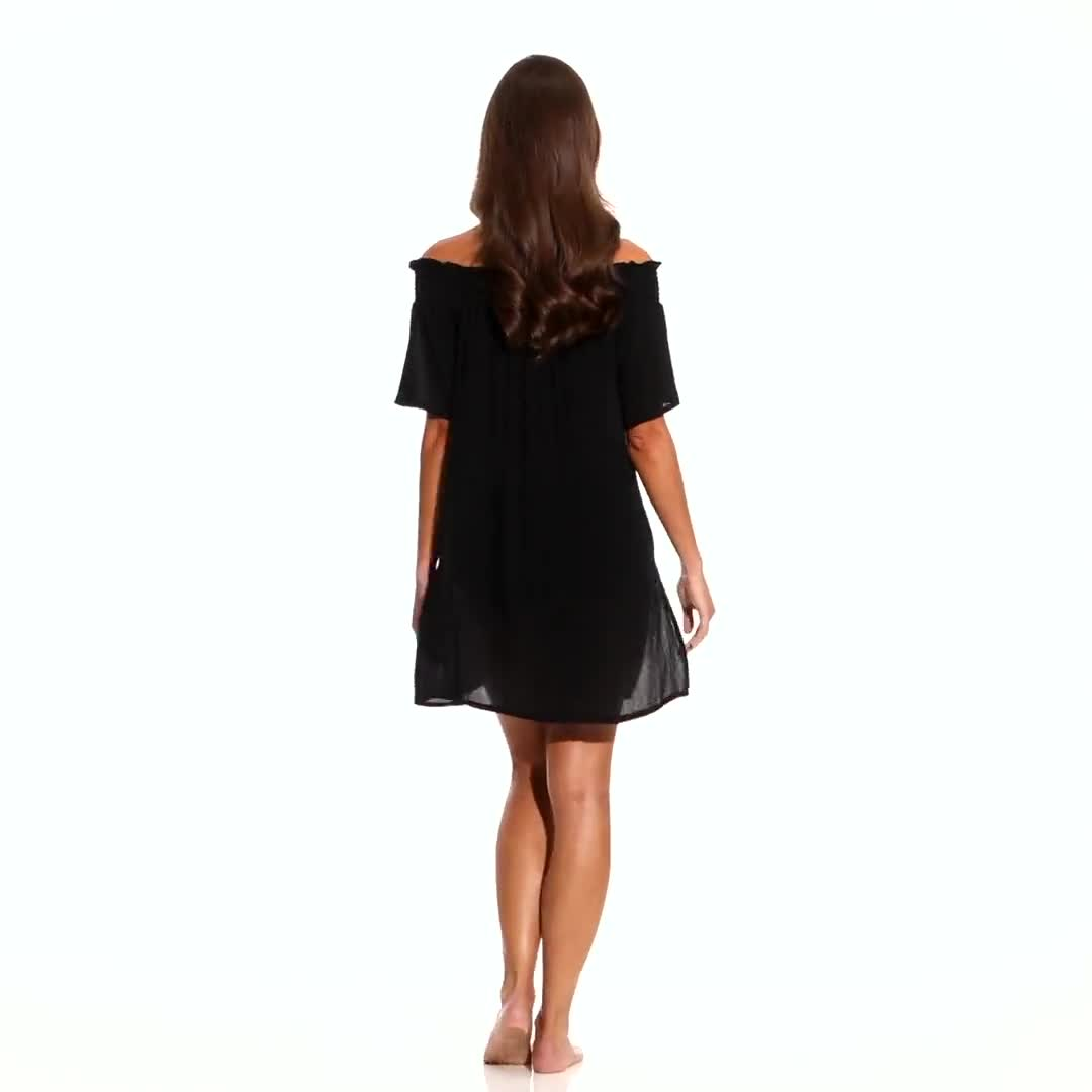Anne Cole Smocked Off Shoulder Mini Dress - Video