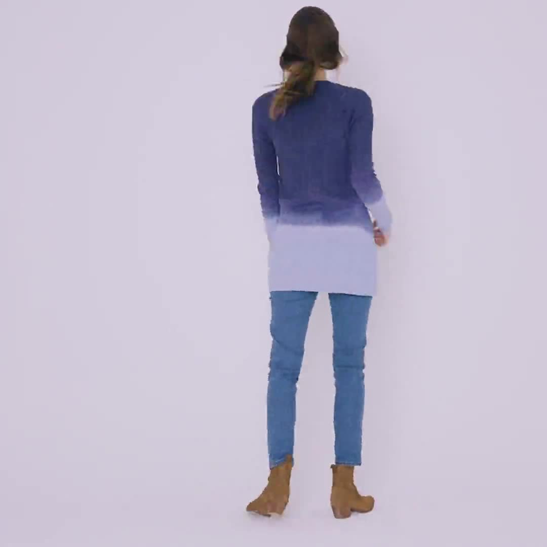 Westport Dip Dye Pointelle Cardigan - Misses - Video