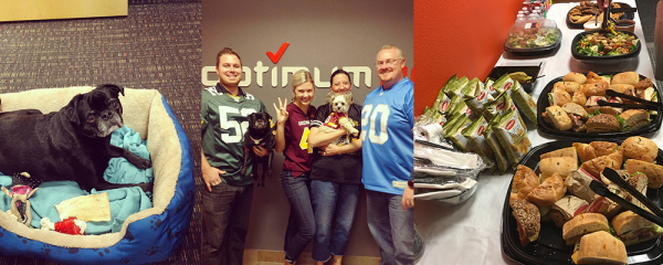 collage of OptimumHQ employees showcasing a positive work environment: dogs in the office, wearing football jerseys, catering lunch for employees