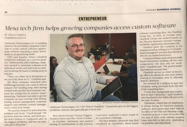 CEO of OptimumHQ Simon Chatfield featured in the Phoenix Business Journal
