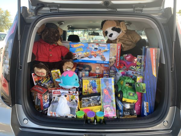 trunk full of toys for Toys for Tots