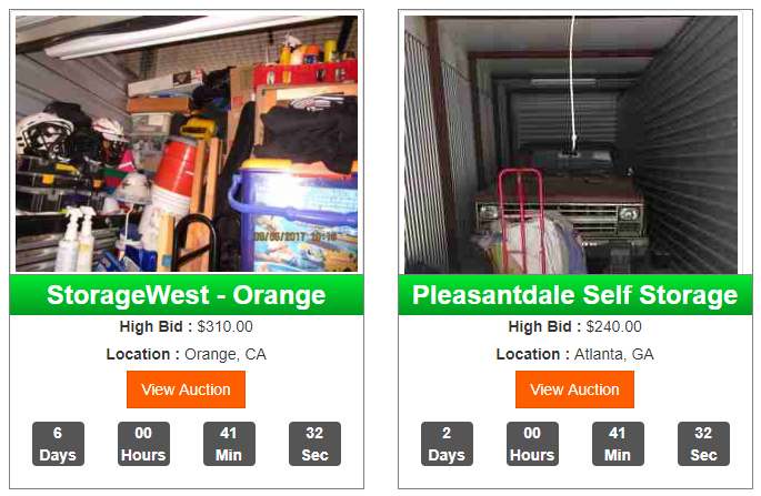 examples of storage auction listings on the Self Storage Auction website