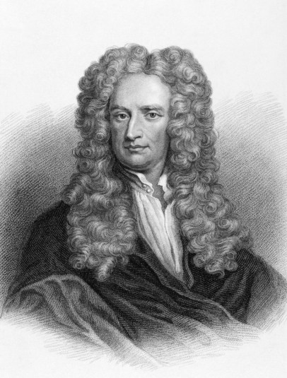 black and white photo of Sir Isaac Newton