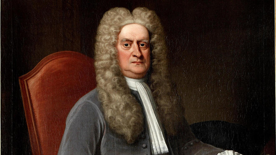 sir isaac newton sitting in a chair