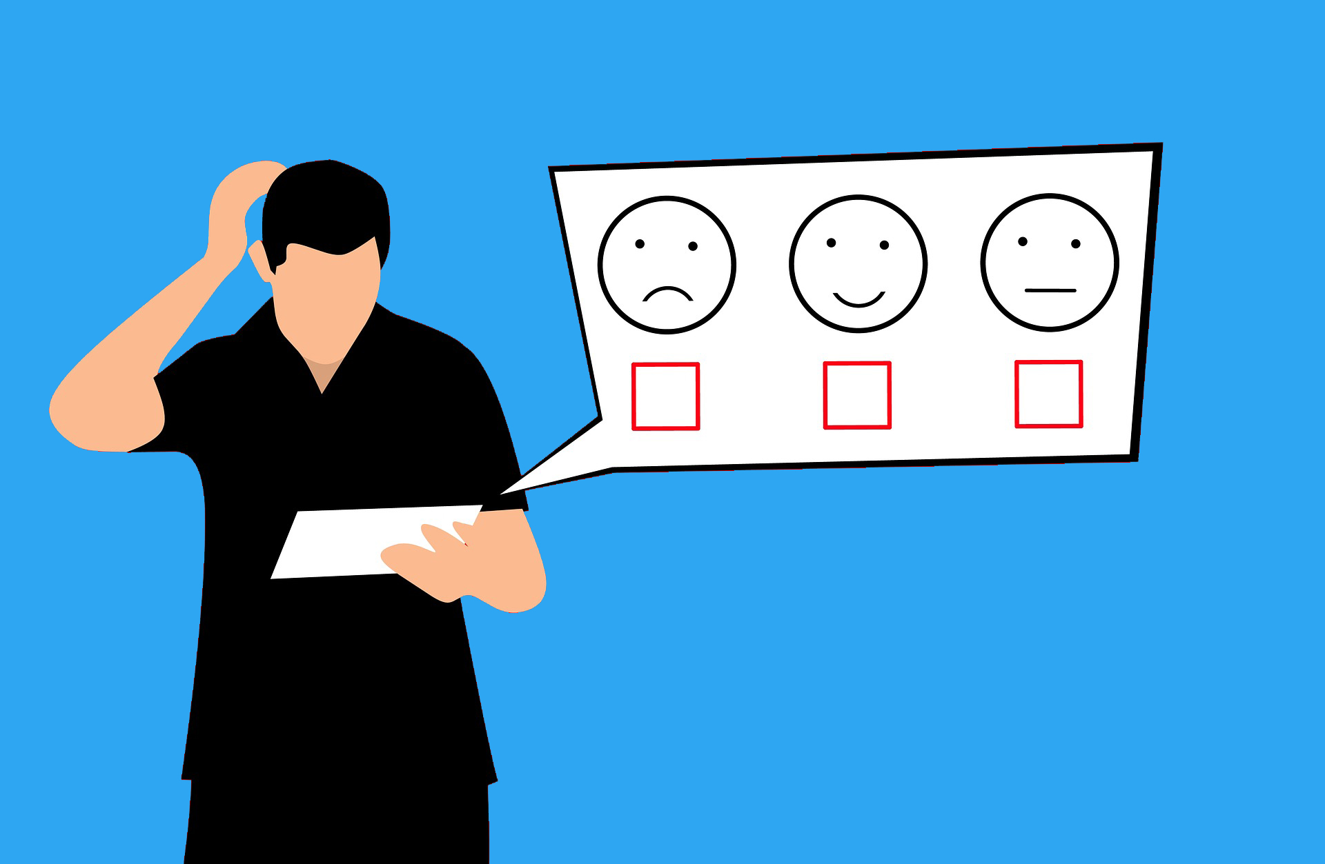 cartoon man scratching his head looking at a smiley face, nuetral face, and frowny face signifying the types of nps scores