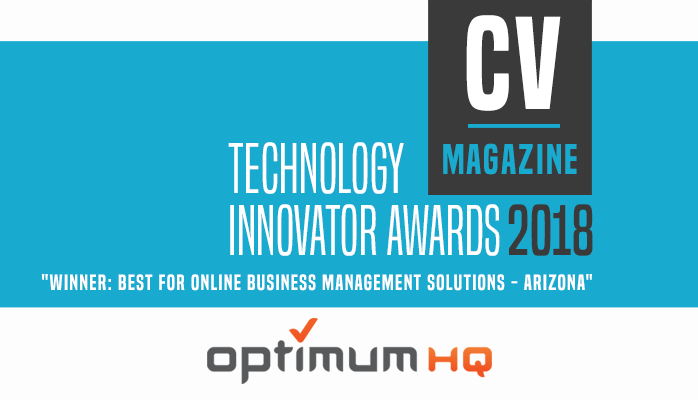 graphic showing OptimumHQ winning the Best Online Business Solution award from CV Magazine