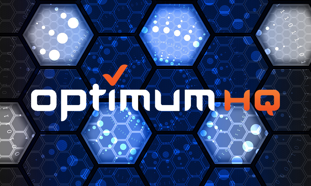 graphic with the OptimumHQ logo and hexagon shapes in the background