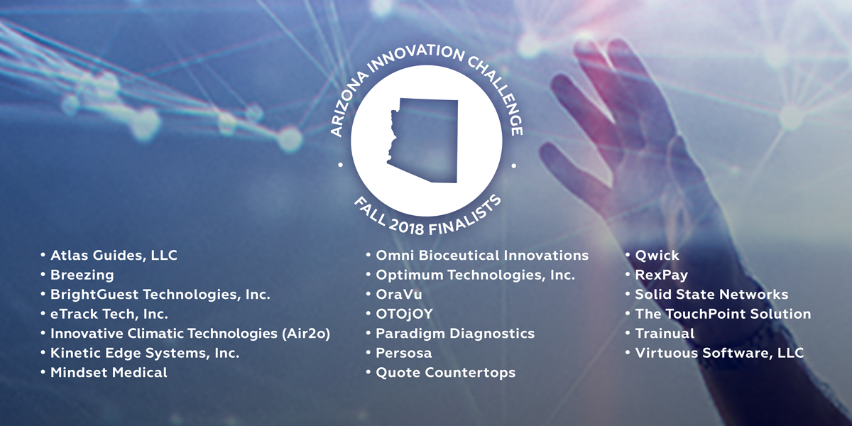 arizona commerce authority graphic showcasing the fall 2018 arizona innovation challenge finalists