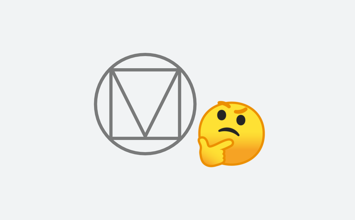The thinking face emoji looking at the Material Design logo.