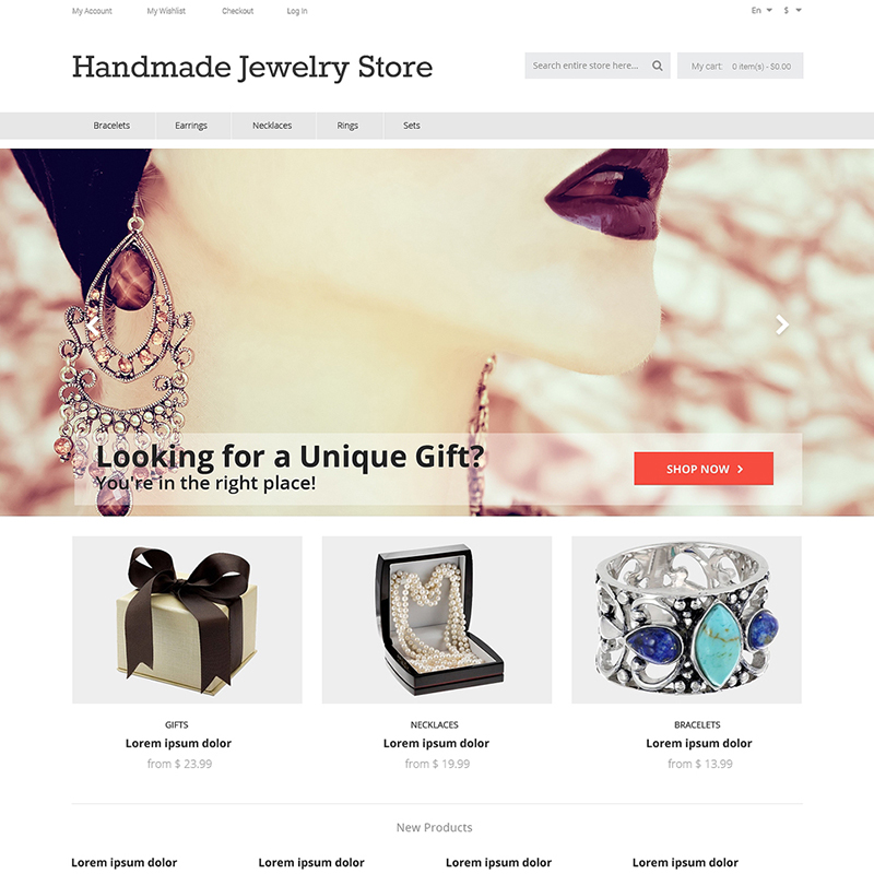 Handcrafted Jewelry Store Magento Theme