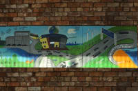 Woodhouse Park youth group artwork of a cartoon city landscape
