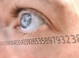 A close up of an open eye with numbers justaxposed onto it