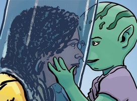 Illustration of one of the characters, Sanda, being hugged by an alien