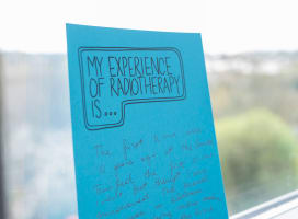 Picture of a blue card that says 'my experience of radiotherapy is...'