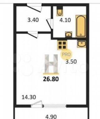 1-к. квартира, 30м², 8/18эт.