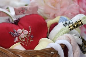 Embroidered Heart with Floss in Basket