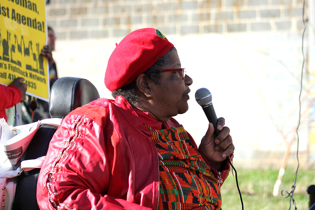 Rev. Annie Chambers speaks at the International Women's Day Gathering Rally in Baltimore, Maryland, March 8, 2017.