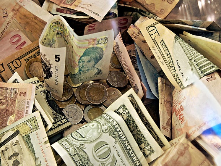 Various kinds of banknotes and coins.