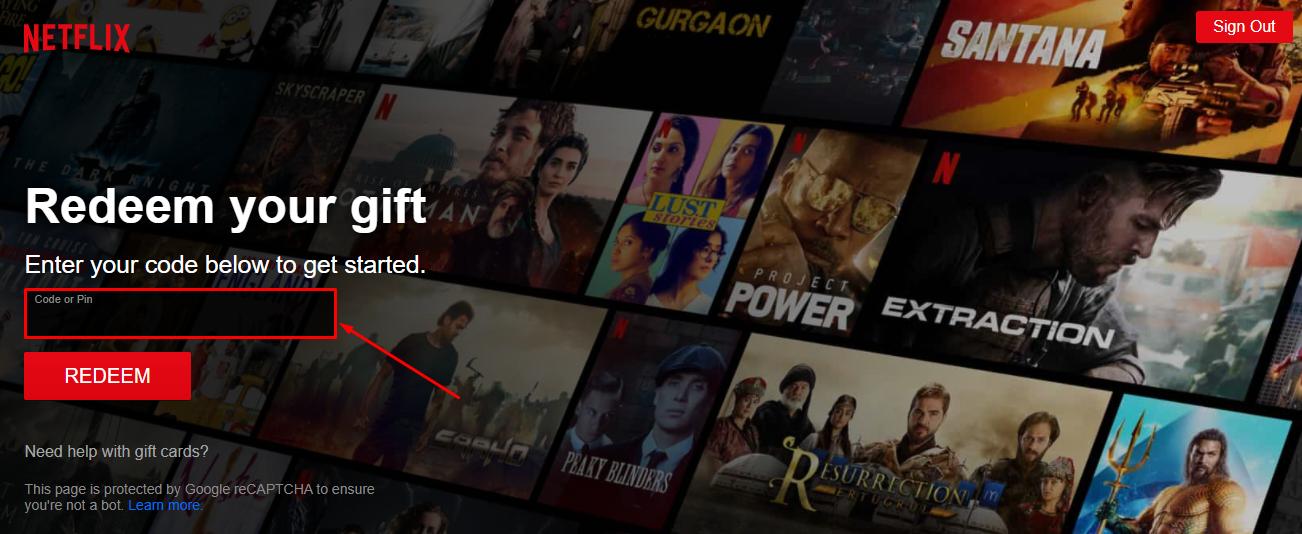 Redeem Netflix Gift Card