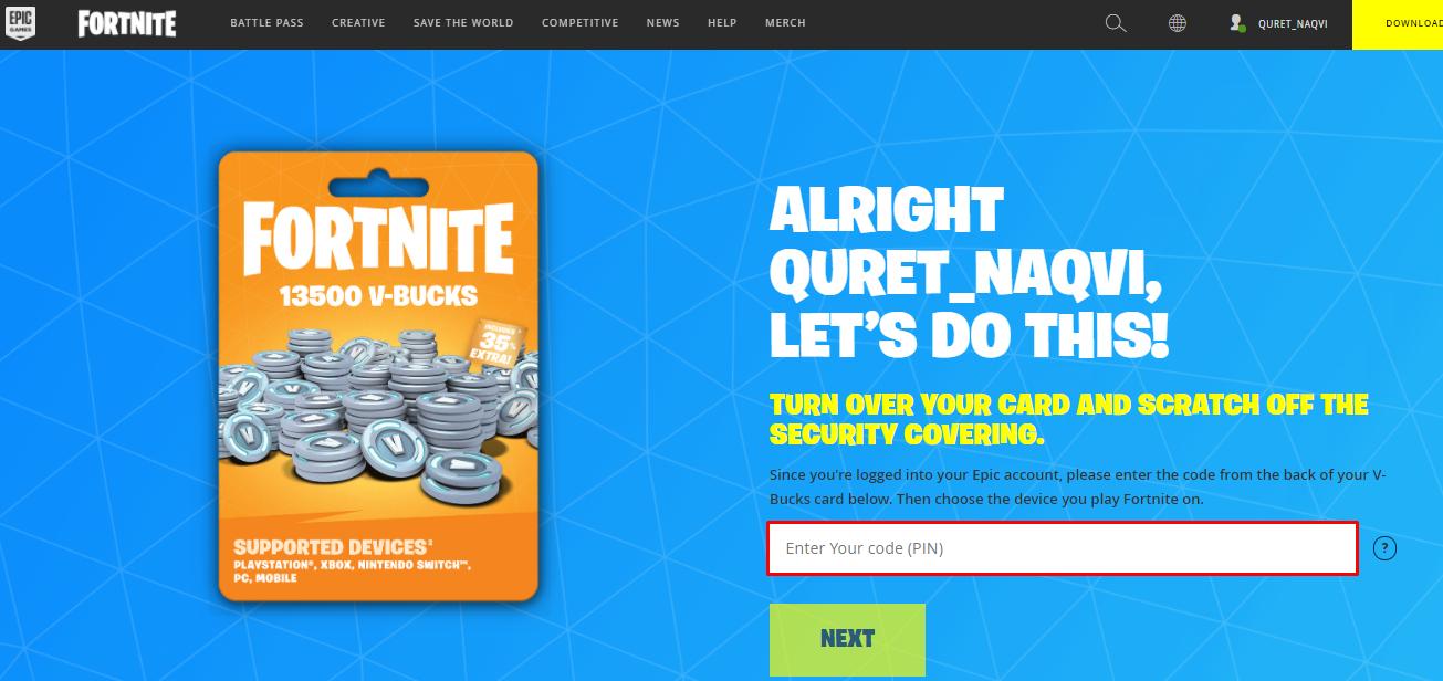 Redeem Fortnite V-Bucks Gift Card