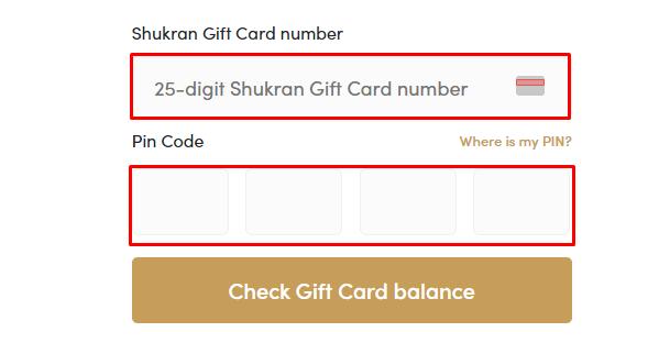 Redeem Shukran Gift Card