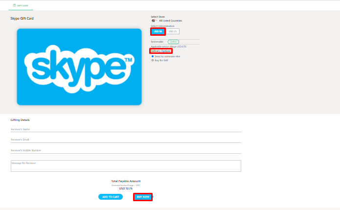 Get Skype Gift Card