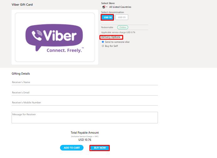 Get Viber Gift Card