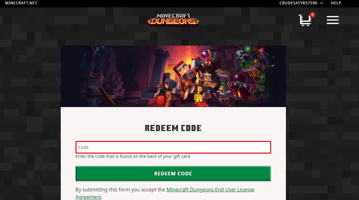 Redeem Minecraft Gift Card