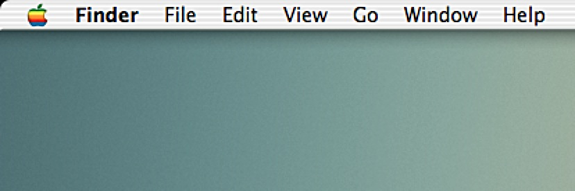 The OS X Mavericks menu-bar with the Apple rainbow icon