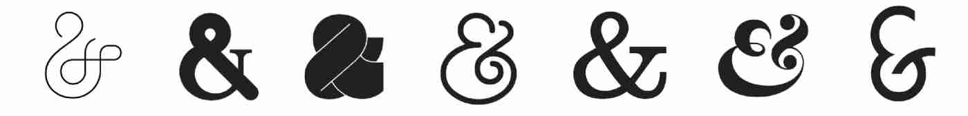 the ampersand character in a selection of typefaces