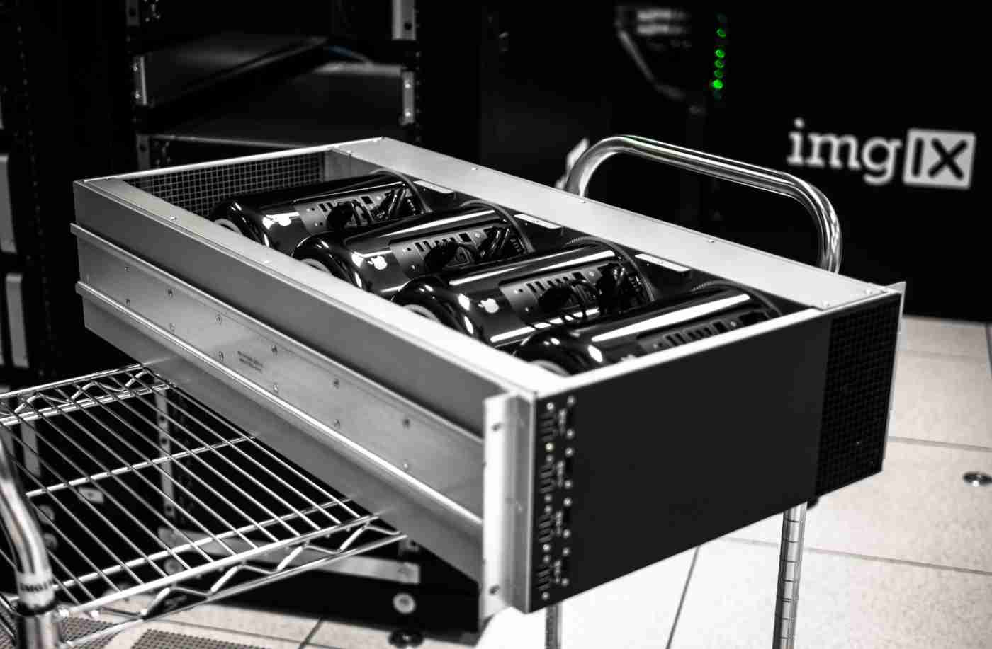 Apple Mac Pros in a custom 19&inch; rack-mount chassis
