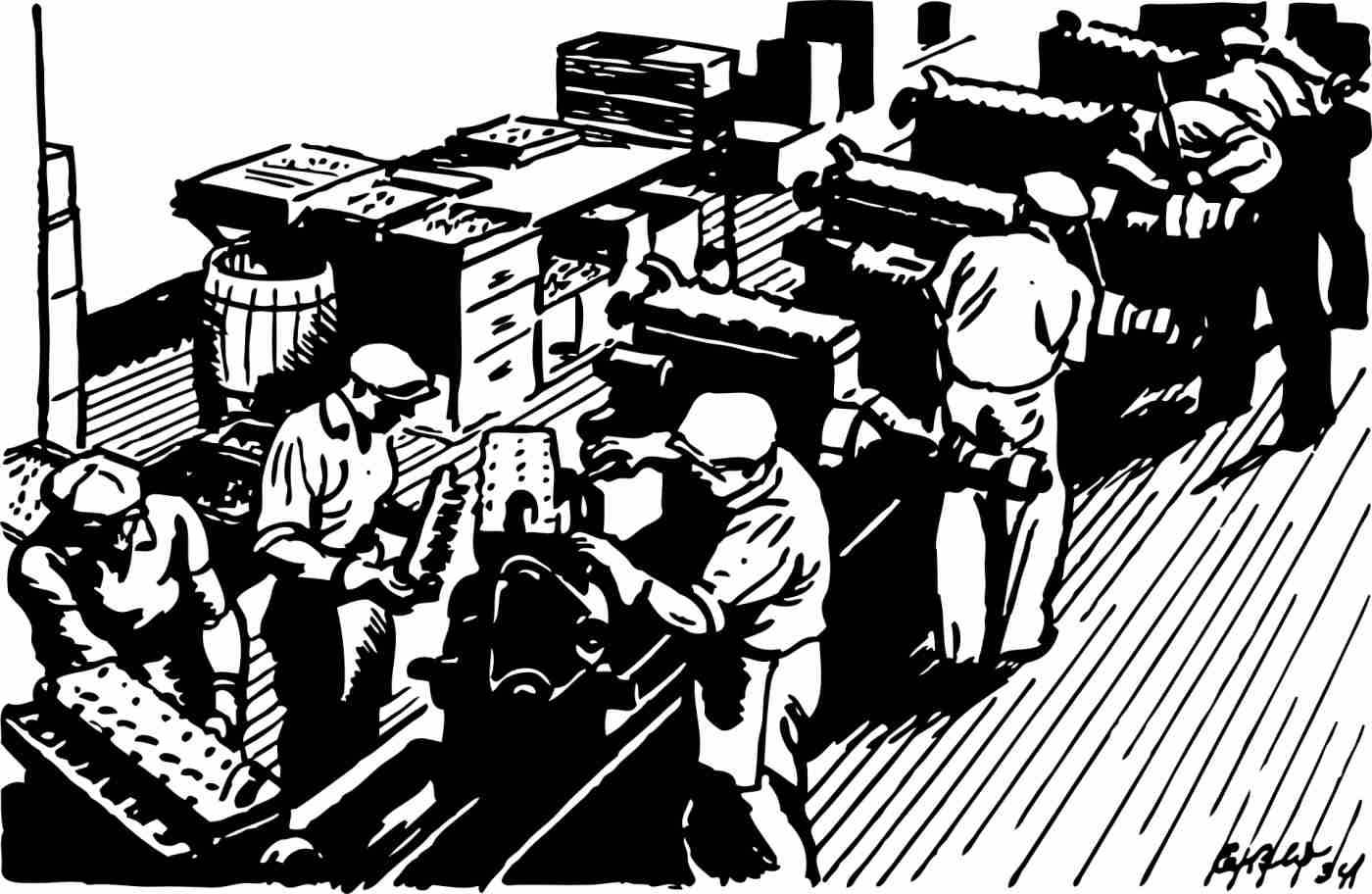 drawing: factory workers on an assembly line