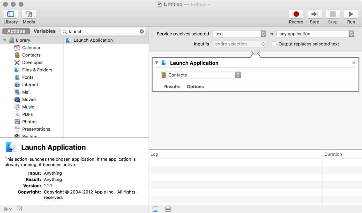 OS X Automator: Launch Application action ready for editing