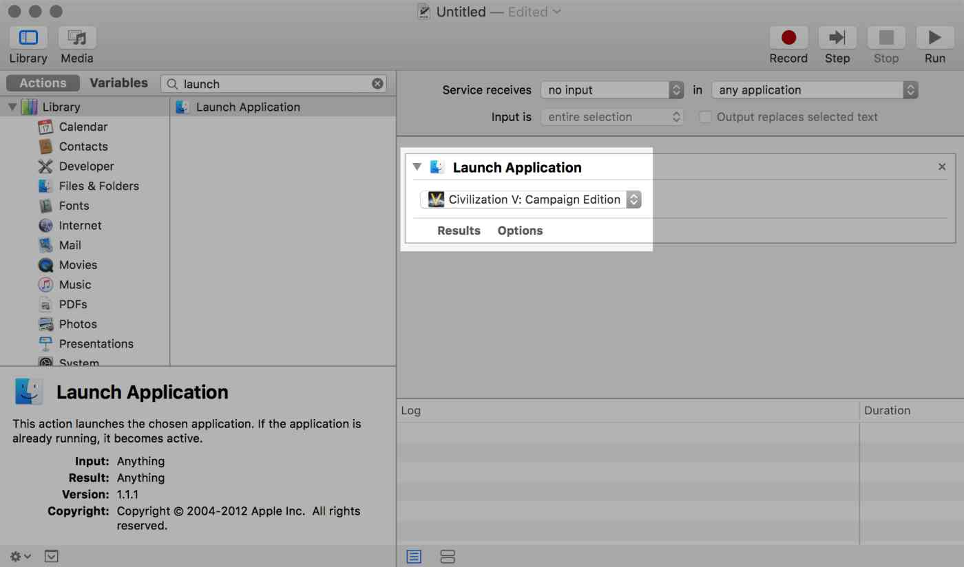 OS X Automator: Application chooser