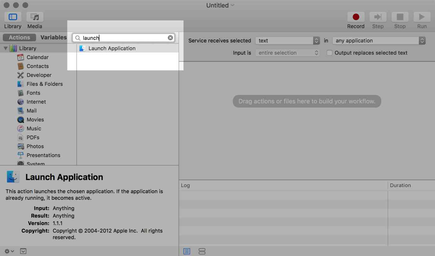 OS X Automator: Filtered actions illustration (filter: launch)