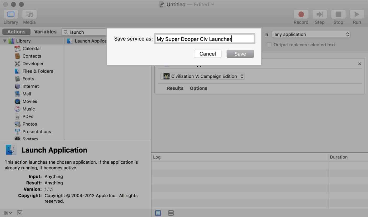 OS X Automator: Name service