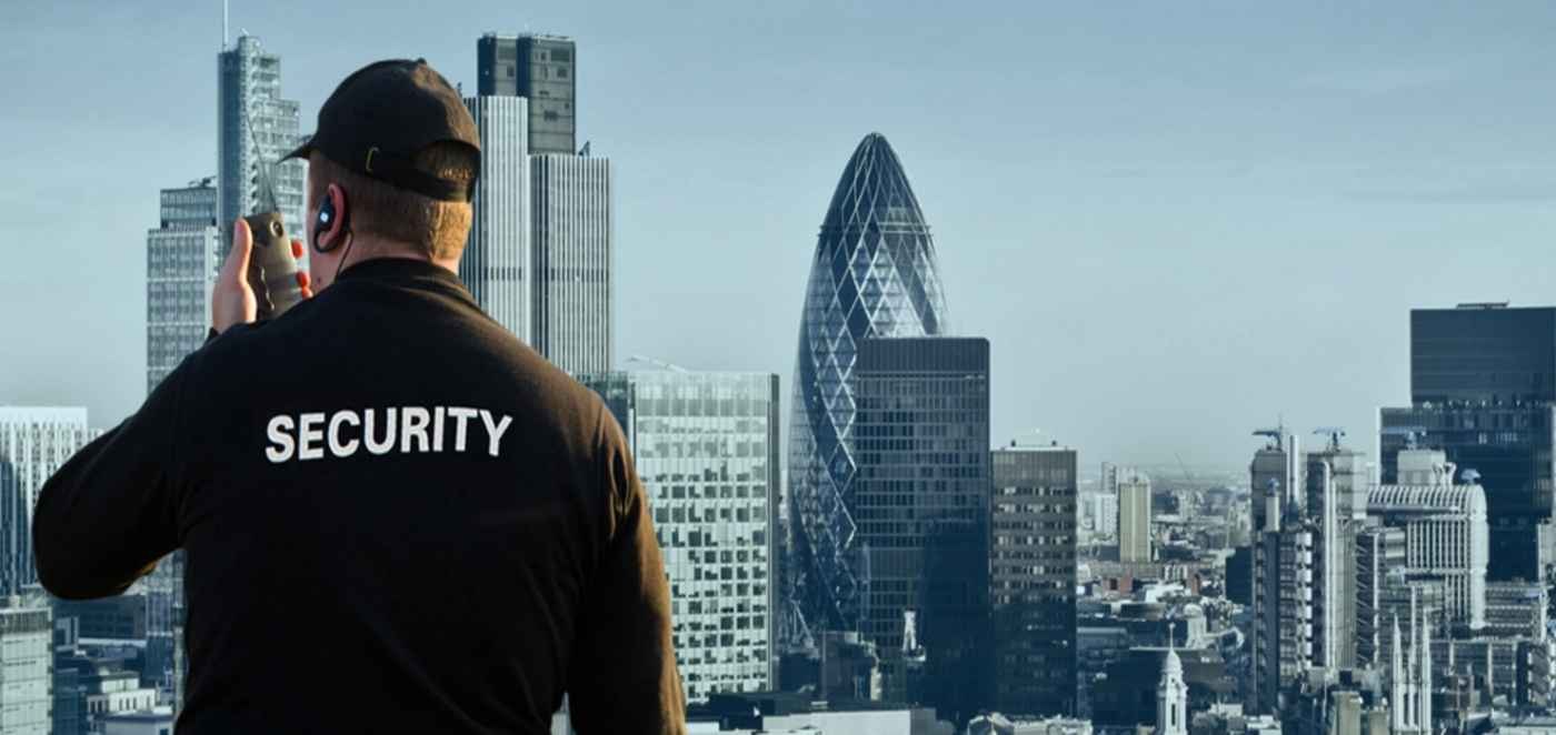 security guard and London skyline