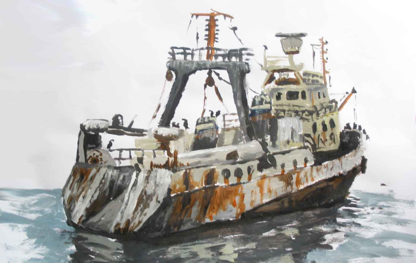 fishing trawler (acrylic)